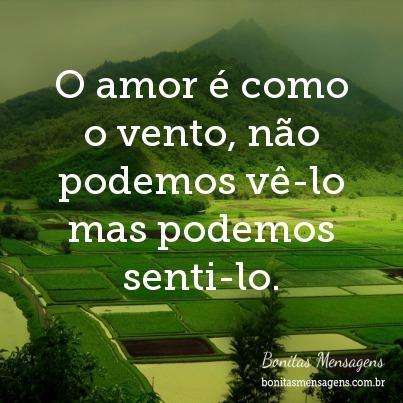 O amor é como o vento, não podemos vê-lo mas podemos senti-lo.