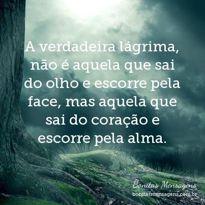 A verdadeira lágrima, não é aquela que sai do olho e escorre pela face, mas aquela que sai do coração e escorre pela alma.