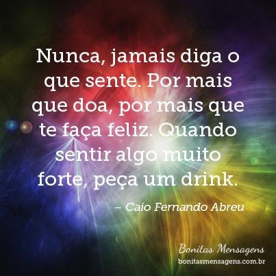 Nunca, jamais diga o que sente. Por mais que doa, por mais que te faça feliz. Quando sentir algo muito forte, peça um drink.