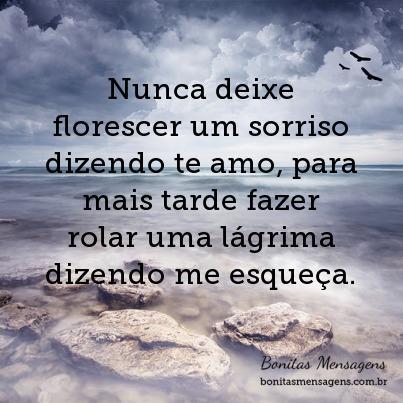 Nunca deixe florescer um sorriso dizendo te amo, para mais tarde fazer rolar uma lágrima dizendo me esqueça.