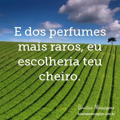 E dos perfumes mais raros, eu escolheria teu cheiro.