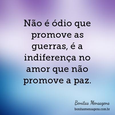 Não é ódio que promove as guerras, é a indiferença no amor que não promove a paz.