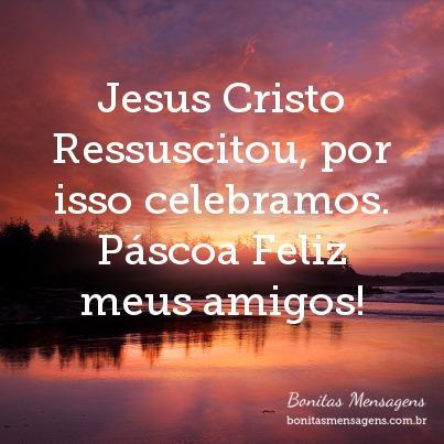 Jesus Cristo Ressuscitou, por isso celebramos. Páscoa Feliz meus amigos!