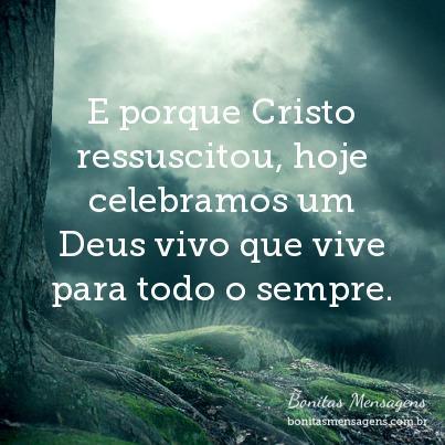E porque Cristo ressuscitou, hoje celebramos um Deus vivo que vive para todo o sempre.