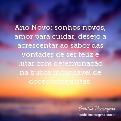 Ano Novo; sonhos novos, amor para cuidar, desejo a acrescentar ao sabor das vontades de ser feliz e lutar com determinação na busca incansável de doces conquistas!