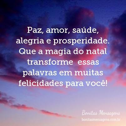 Paz, amor, saúde, alegria e prosperidade. Que a magia do natal transforme  essas palavras em muitas felicidades para você!